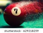 red billiard ball splits into... | Shutterstock . vector #629218259