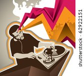 Designed banner with stylized dj figure. Vector illustration. - stock vector