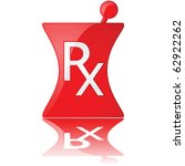 Glossy vector illustration of a red pharmacy icon - stock vector