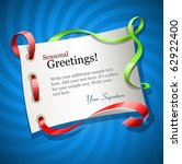greetings card for holiday with ... | Shutterstock .eps vector #62922400