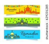 ramadan banners or headers set...   Shutterstock .eps vector #629231285
