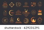 islamic emblems set for ramadan ... | Shutterstock .eps vector #629231291