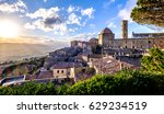 old town of volterra - italy - stock photo
