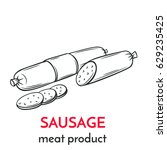 hand drawn sausage icon. vector ... | Shutterstock .eps vector #629235425