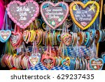 typical souvenir at the oktoberfest in munich - a gingerbread heart - lebkuchenherz - stock photo