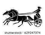 roman chariot silhouette | Shutterstock .eps vector #629247374