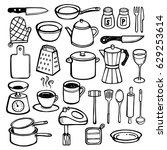 kitchen doodles   hand drawn... | Shutterstock .eps vector #629253614