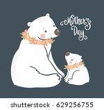 cute teddy. polar bear mother... | Shutterstock .eps vector #629256755