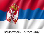 national flag of serbia... | Shutterstock . vector #629256809