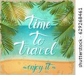 vector vintage summer poster... | Shutterstock .eps vector #629268461