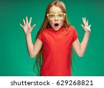surprised little girl     ... | Shutterstock . vector #629268821