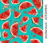 juicy watermelon. watercolor... | Shutterstock . vector #629269841