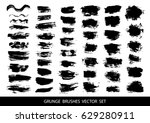 set of black paint  ink brush... | Shutterstock .eps vector #629280911