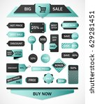 vector stickers  price tag ... | Shutterstock .eps vector #629281451