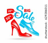 various men's and women's shoes.... | Shutterstock .eps vector #629286011