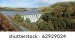 Craig Goch reservoir panorama, Elan Valley, Wales. - stock photo