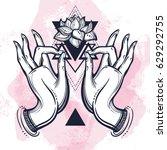 beautiful hand drawn buddha...   Shutterstock .eps vector #629292755