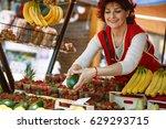 middle age fruit market... | Shutterstock . vector #629293715