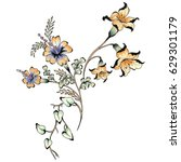 Stock photo watercolor flower illustration 629301179