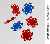 realistic casino chips isolated ... | Shutterstock .eps vector #629304344