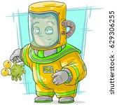 Cartoon Spaceman Scientist In...
