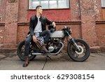 handsome rider biker man in... | Shutterstock . vector #629308154