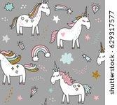 unicorn magic seamless vector... | Shutterstock .eps vector #629317577
