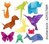 Stock vector animals origami set japanese folded modern wildlife hobby symbol creative decoration vector 629317889