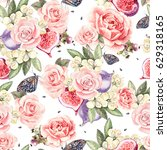 pattern with watercolor... | Shutterstock . vector #629318165