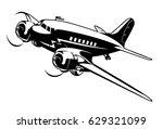 vector cartoon retro plane.... | Shutterstock .eps vector #629321099
