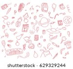 a collection of various hand... | Shutterstock .eps vector #629329244