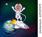 cartoon astronaut in outer... | Shutterstock .eps vector #629329379