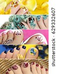 collage of colorful pedicure... | Shutterstock . vector #629332607