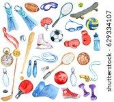 watercolor sport doodle set ...   Shutterstock . vector #629334107
