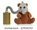 Soft toy bear wear mask as protection against a smoke and a virus. - stock photo