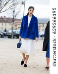 Small photo of PARIS-MARCH 2, 2017.Caroline Issa Street style during Paris fashion week.Ready to wear.