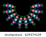 colorful flower with leaf frame ... | Shutterstock .eps vector #629374139