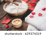 wellness decoration with red... | Shutterstock . vector #629374319