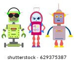 Set Of Funny Cartoon Robots Ar...