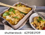 italian pasta with sauce ... | Shutterstock . vector #629381939