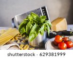 italian pasta with sauce ... | Shutterstock . vector #629381999