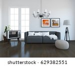 white room interior with... | Shutterstock . vector #629382551