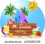 summer beach background | Shutterstock . vector #629385239