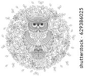 coloring book for adult and... | Shutterstock .eps vector #629386025