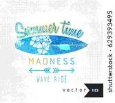 watercolor summer surf vector... | Shutterstock .eps vector #629393495