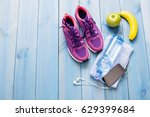 fitness healthy concept shoes... | Shutterstock . vector #629399684