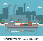 loading of containers on the... | Shutterstock .eps vector #629402339