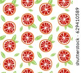 fruit orange and red grapefruit ... | Shutterstock .eps vector #629410589
