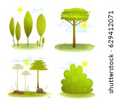 trees and bush summer landscape ... | Shutterstock .eps vector #629412071