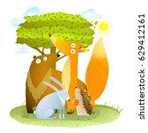animals in wild bear fox... | Shutterstock .eps vector #629412161